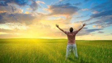 A man rejoicing in the view of a sunrise on a green field