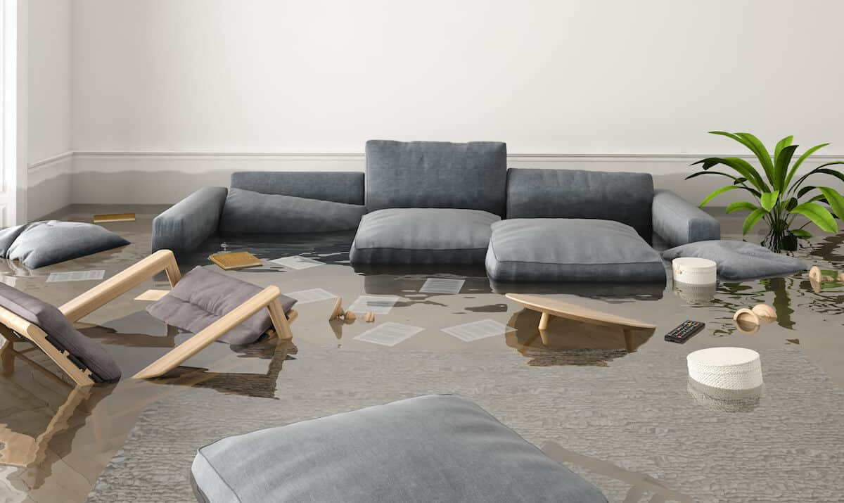 furniture affected by water damage