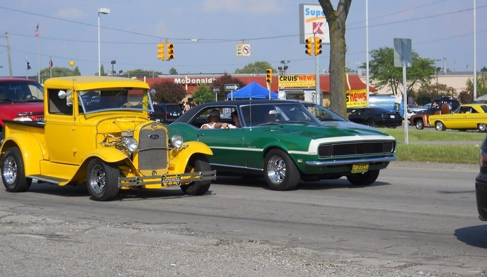 Yellow and green cars cruising Downriver Michigan